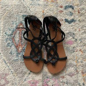 So Brand Gladiator Style Wedge Sandal Black 7.5